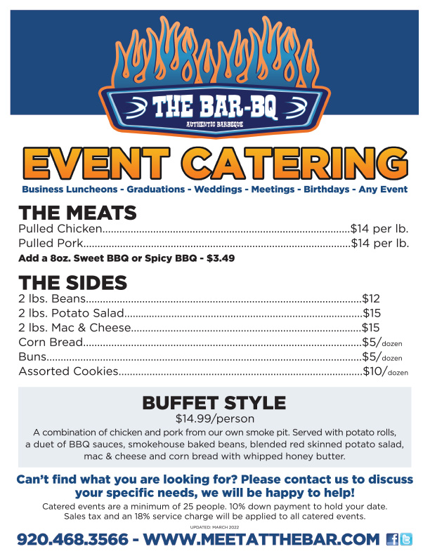 The Bar - BQ Event Catering Menu
